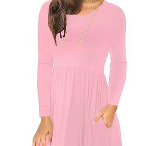 0220 Women's Long Sleeve T Shirt Dresses Casual